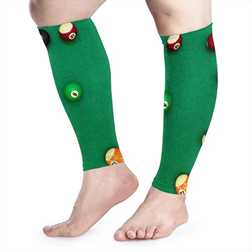 Pool Billiard Balls On Green Desk Calf Brace Men & Women Toeless Compression Socks Graduated Compression Sleeves for Shin Splint Calf Pain Recovery Running Cycling Travel