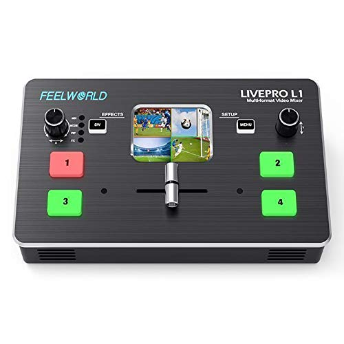 Feelworld LIVEPRO L1 Multi-Format Video Mixer 4 x HDMI Inputs,2' TFT Display,Live Streaming,Remote Controlling by PC/Samrt Phone(APP)