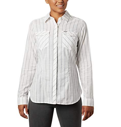 Columbia Women's Camp Henry Ii Long Sleeve Shirt, White Stripe, Large
