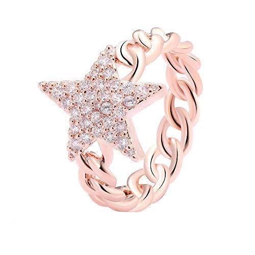 1 Stern Versprechen Ringe für Damen, Roségold und versilberte Ewigkeit Freundschaftsringe mit glänzendem Zirkonia (Roségold, 59 (18.8))