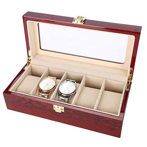 SMEJS 5 Slots Watch Box Kirsche Uhr Vitrine Speicherorganisator Große Glasplatte, High-End-Uhr Aufbewahrungsbox Aus Massivem Holz