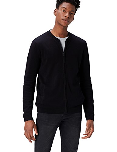 Amazon-Marke: find. Herren Bomber Phrm Strickjacke, Schwarz, XL, Label: XL