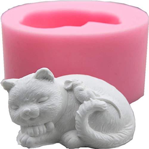 3D süße Katze Silikon Kuchenform Schokolade Fondant Form Eiswürfelschale handgemachte Tier schlafen Katze Seifenform Kuchen Dekoration Werkzeuge, 1
