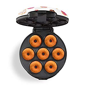 Dash DDM007GBDP04 Mini Donut Maker Machine for Kid-Friendly Breakfast, Snacks, Desserts & More with Non-stick Surface, Makes 7 Doughnuts, White