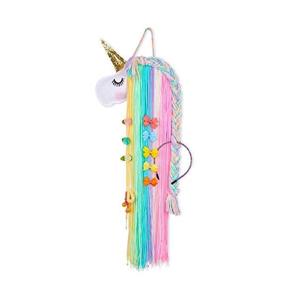 Beauty Shopping Beinou Unicorn Hair Clips Holder Rainbow Yarn Tassels Hair Bows Storage Shy Unicorn