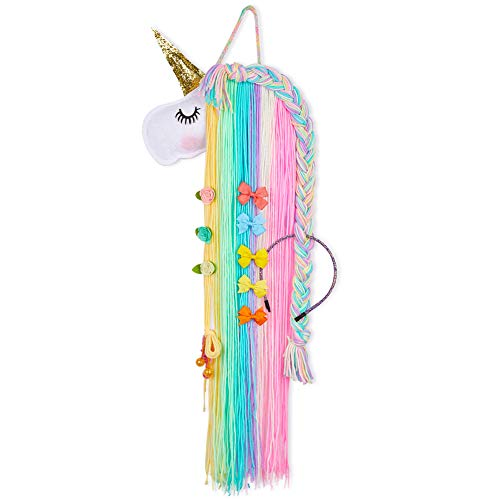 Beinou Unicorn Hair Clips Holder Rainbow Yarn Tassels Hair Bows Storage Shy Unicorn Face Headband Organizer Unicorn Theme Party Decorations