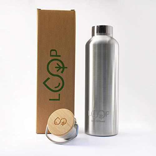 Botella térmica 2.0 de acero inoxidable y bambú natural, ecológica, sin plástico