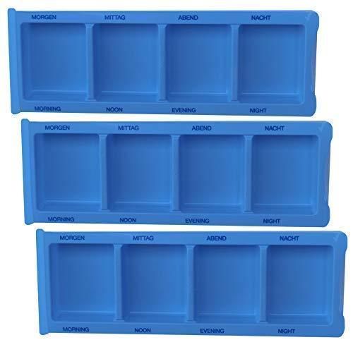 Medi-Inn Medikamentendispenser mit 4 Fächern | blau XL Spezial – 3 Stück | Tablettenbox zum Sortieren & Aufbewahren von Medikamenten