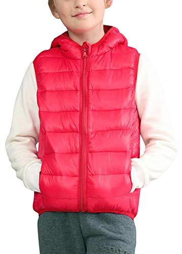 liangfeng - Chaleco Encapuchado Invierno para Niños Unisex 5-12 años Abrigo Outwear Acolchado Caliente Suave