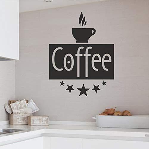 GUDOJK Muursticker Koffie Vintage Lettering Muursticker Decoratieve Merk Muurstickers voor Keuken Thuis Art Decor Vinyl Behang Muren
