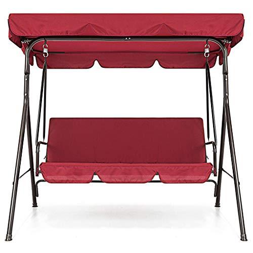 IsMoon Abdeckhauben für Hollywoodschaukeln Swing Cover Schaukelsitz 3 Sitzer Schaukel Sitzbezug Abdeckung Wasserdicht Gartenschaukel Abdeckplane-150cmx150cmx10cm (Baldachin: 142X120X18CM) (Rot)