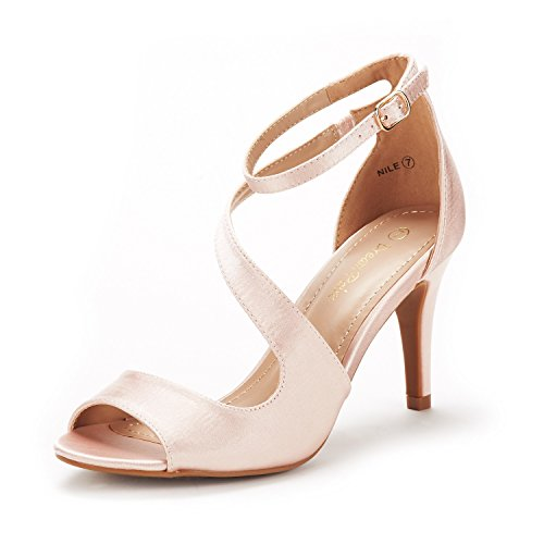DREAM PAIRS Women's NILE Champagne Fashion Stilettos Open Toe Pump Heel Sandals Size 7 B(M) US