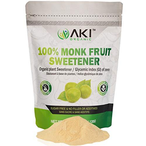 Aki Organic Monk Fruit Extract Sweetener Powder 100% Pure Monkfruit, Not A Granulated But Powdered Brown Raw Sweeteners Alternatives Non-gmo Sugar Free Zero Glycemic Keto Friendly (4.23Oz / 120Gr)