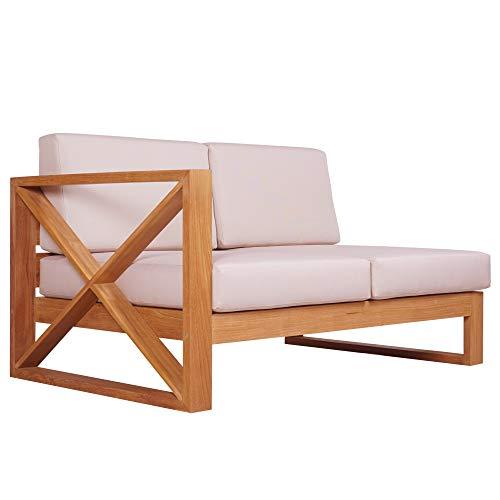 Teako Design Outdoor Sofa Molveno Seitenteil Links mit Auflagen unbehandeltes Massivholz Wetterfest robust Teakholz