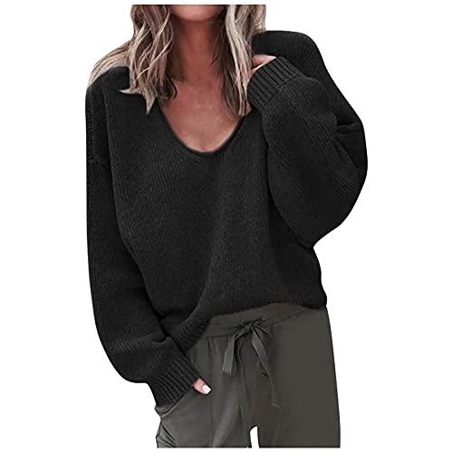 Wave166 Jersey de punto para mujer, sexy, cuello en V, informal, de manga larga, de un solo color, para otoo, Negro , XXL