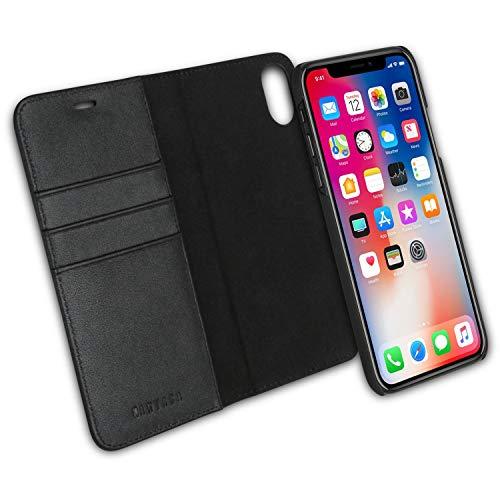 iPhone XR Flip Hülle Ledertasche 2 in 1 Lederhülle Schwarz - KANVASA Luxus Echtleder Cover Leder Tasche für Original Apple iPhone XR / 10R - Kabelloses Laden Qi mit Hülle möglich