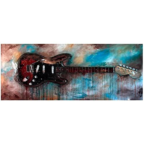 LXWWW Cuadros de Arte de Pared de Pintura Abstracta Moderna para decoración de Sala de EstarCarteles de Guitarra...
