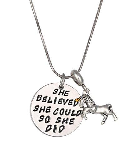 Unicorn Gifts for Girls - Unicorn Drawstring Backpack/Makeup Bag/Bracelet/Inspirational Necklace/Hair Ties 6