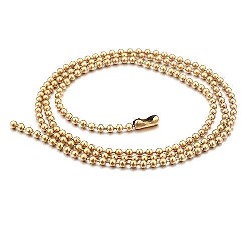 Aeici Collar Acero Hombre Cadena Bola Collar para Hombres Oro Largo 76Cm