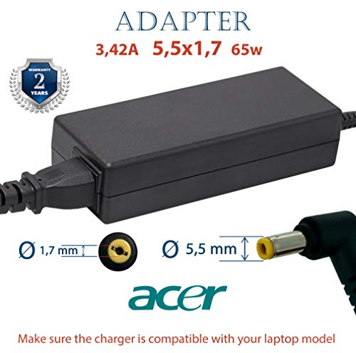 Netzteil für Acer 3.42A 5,5x1,7 19v 65w | Netzteil Acer Aspire, Extensa, AcerNote Light und TravelMate | 2 Jahre Garantie auf das Acer Netzteil | Acer Laptop Ladekabel Acer Netzteil