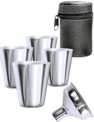 Outdoor Saxx® - 6-Teiliges Edelstahl-Becher, Trink-Becher Set, 4 Schnaps-Becher 30ml und Einfüll-Trichter in Leder-Tasche, ideales Flachmann-Zubehör, unzerbrechlich,