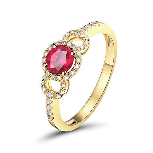 AnazoZ Anillo con Rubi Mujer,Anillo Oro Amarillo 18K Mujer Oro Rojo Redondo Hueco Rubí Rosa Roja 0.5ct Diamante 0.17ct Talla 6,75