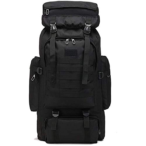 Waterproof Climbing Hiking Military Tactical Backpack, 70L Camping Mountaineering Outdoor Sport Molle 3P Bag ,Black