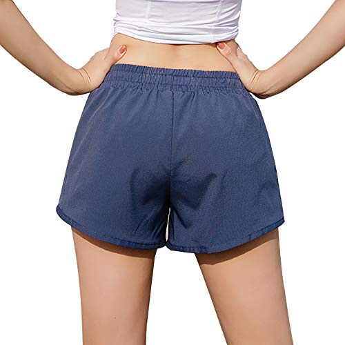 R RUNVEL Sports Shorts Women Gym Shorts 2 in 1 Summer Running Workout Athletic Training Fitness Mesh Compression Casual Cotton Cycling Jogging Shorts Women Ladies Sportswear Blue Plus Size 12