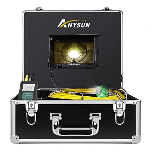 Anysun Plumbing Camera 100ft Waterproof IP68 DVR Video Inspection Equipment 7 Inch LCD Monitor HVAC Duct Drain Chimney Snake Pipe Cameras 30m Cable (Free 8GB SD Card)