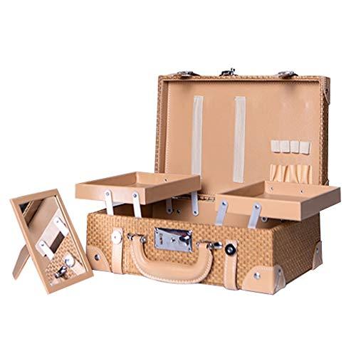 PHH Boîte de Rangement cosmétique Grande capacité Retro Sac à cosmétiques Femme Couche Multicouche Portable Simple Boîte Portable (Color : Brown, Size : 32.5 * 13 * 22.5CM)