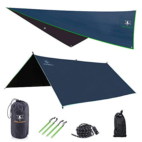 Hammock Rain Fly - Waterproof Tent Trap Camping Backpacking Survival Shelter by Premium Lightweight Ripstop Fabric, Fast Set Up, Stakes and Ropes Included for Hiking, Travel (Rectangular Section)