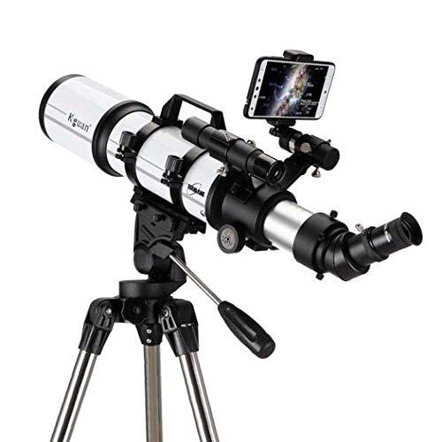 Espace profond professionnel, télescope pour enfants adultes débutants en astronomie, télescope réfracteur pour l'astronomie, télescope de voyage portable avec trépied, film vert multicouche,80AZ