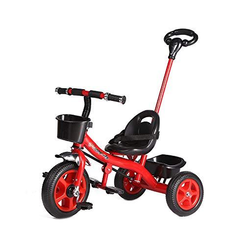 CLCYL Tricycle Evolutionnaire Trike Space Ranger Wheel Enfants Trike Balance Vélo Enfant Garçons Stabilisateurs Vélo D'Entraînement Bleu Et Rouge Poignée Parentale,Red