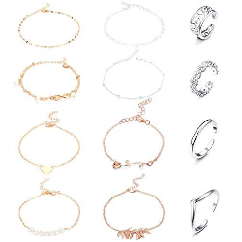 Milacolato 12Pcs Adjustable Anklets Toe Rings for Women Girls Band Open Toe Ring Anklet Bracelets Chains Beach Foot Jewelry Set