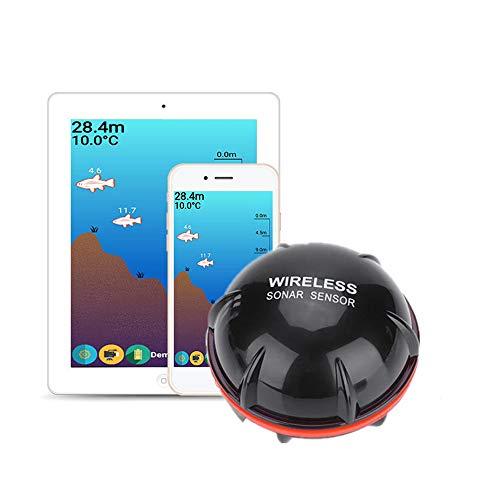 ZWBTY Fish Finder, Smart Sonar Phone Castable Wireless Fishfinder Buscador De Profundidad Buscador De Peces Portátil para Kayaks Barco Shore Pesca En Hielo Regalos Kayak Equipo De Pesca,Negro
