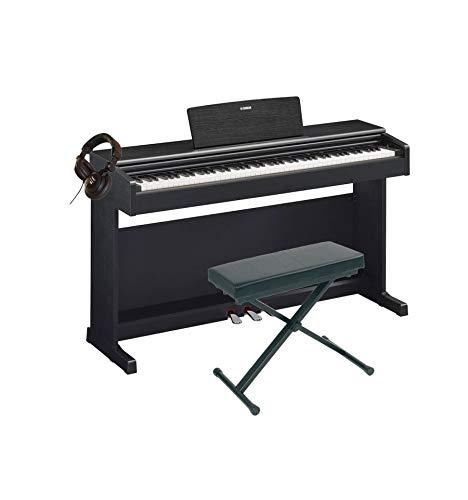 Yamaha YDP-144 - Pianoforte digitale + panca + casco, colore: Nero
