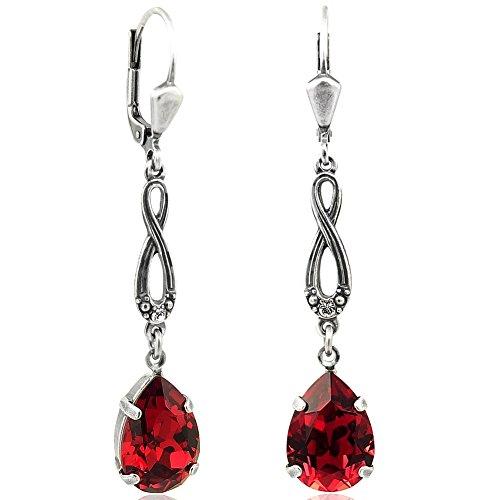 Jugendstil Ohrringe mit Kristallen von Swarovski® Silber Rot NOBEL SCHMUCK