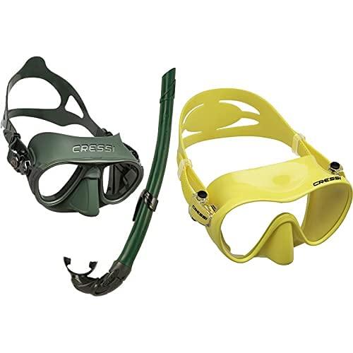 Cressi Calibro + Corsica Packs De Snorkel, Unisex Adulto, Verde + F1 Mask Máscara Monocristal Tecnología Frameless, Unisex, Amarillo, L