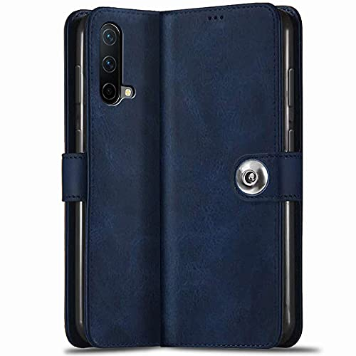 TheGiftKart Genuine Leather Finish OnePlus Nord CE 5G Flip Back Cover | Inbuilt Pockets & Stand | Wallet Style | Designer Button Magnet Flip Cover Back Case for OnePlus Nord CE 5G (Blue)