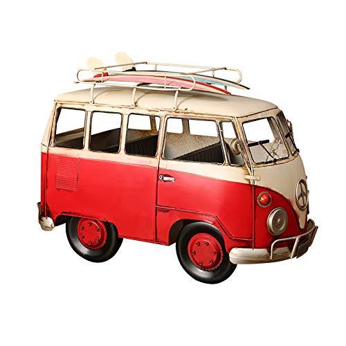 SUNASQ Autobús Toy Retro Tin Van Decoración para el hogar Transporter Bus Car Window Ornaments