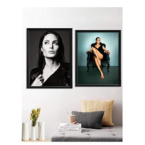 Feitao Angelina Jolie Beauty Sexy Vestido Encantador Póster Decoración Impresiones Regalo Lienzo Arte De Pared para Sala De Estar -20X24-20X30 Pulgadas Sin Marco