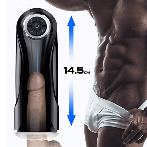 Male Masturbator Cup Electric Adult Sex Toys for Men with 5 Powerful Thrusting Modes and 3D Realistic Vagina Pussy Stroker Masturbation Male Vibration, 6 Speeds Control 3 Female Sexy Moans