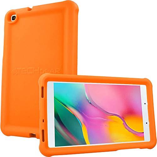 TECHGEAR Funda Diseñado para Nuevo Samsung Galaxy Tab A 8.0' 2019 (SM-T290/SM-T295) Resistente Antideslizante a Prueba de Golpes de Silicona Suave Funda Niños + Protector de Pantalla [Naranja]