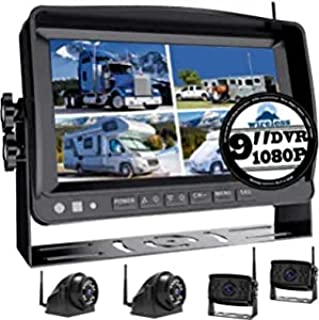 """$65 » 1080P Wireless Backup Camera w/ 9"""" FHD Monitor, Front/Rear/Side View Camera for Truck Rv Trailer Camper Motorhome, Revesin..."""