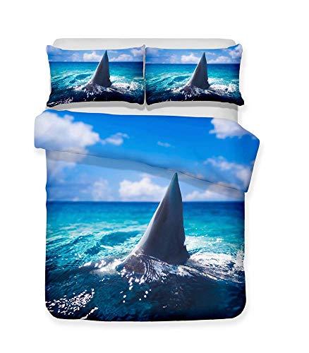 352 FUKAN beddengoed set haai, kind liefde super zacht, anti-mijt geavanceerde materiaal Polyester-katoen dekbedovertrek 3 stuks (1 dekbedovertrek + 2 kussenslopen 50x75) (spelen, dubbele grootte (200x200cm))