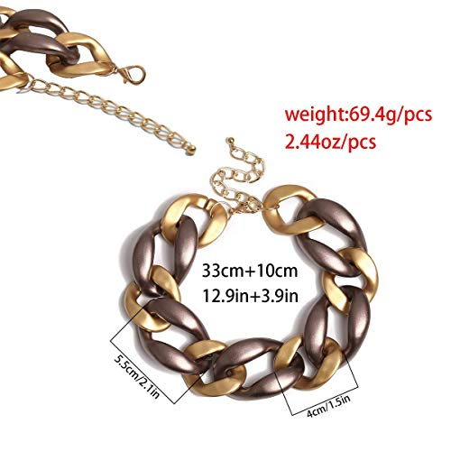 malyituk Punk Necklace, Collar Fine Jewelry Punk Cold Wind Geometric Female Exaggerated Personalized Thick Chain Gold Necklace