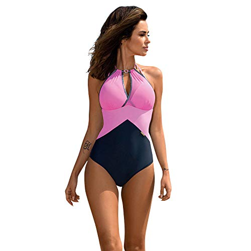 B/H Traje de baño Conjunto de Bikini Lindo,Traje de baño Sexy de una Pieza, Traje de baño para Damas de Talla Grande-Pink_S,Traje de baño Triangular Ropa de Playa