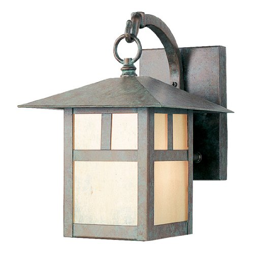 Livex Lighting 2131-16 Outdoor Wall Lantern with Iridescent Tiffany Glass Shades, Verde Patina