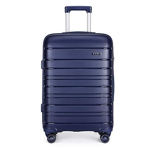 Kono Lightweight Polypropylene Medium Check in Luggage with 4 Spinner Wheels TSA Lock YKK Zipper Hard Shell Travel Trolley Suitcase (Navy, 65cm 66L)