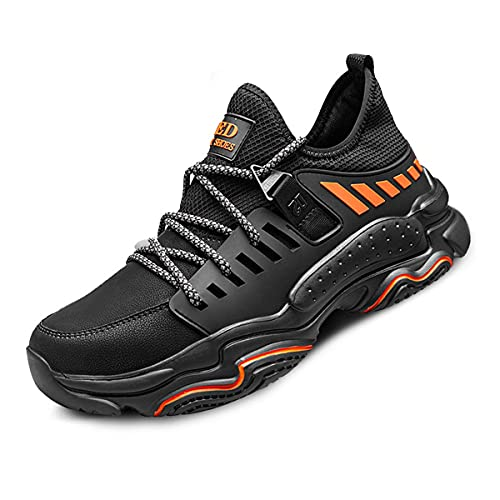 Aingrirn Zapatos de Seguridad Hombre Mujer Zapatillas de Trabajo con Punta de Acero Ligeros y Transpirables Construcción Zapatos (Color : Black Leather Upper, Size : 43 EU)